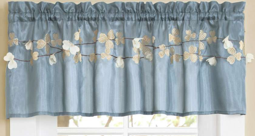 Lush Decor Flower Rod Pocket Tailored Kitchen Curtain
