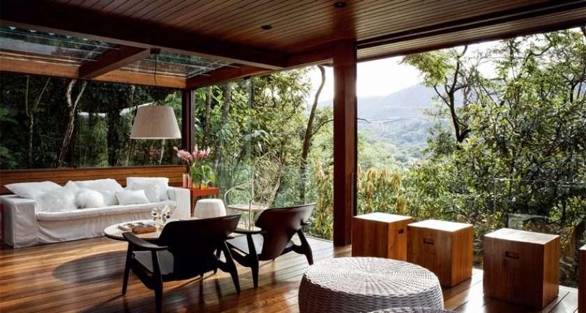 Luxurious Summer Veranda Design Glass Walls Ceiling