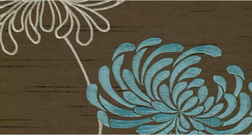 Luxury Flowers Patterned Shimmering Brown Duck Egg Blue Curtains