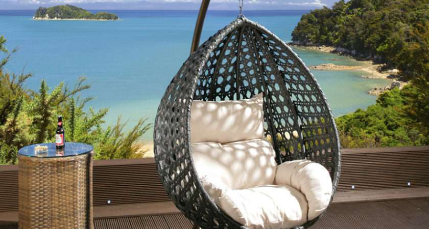 Luxury Outdoor Garden Hanging Chair Black Rattan Cream