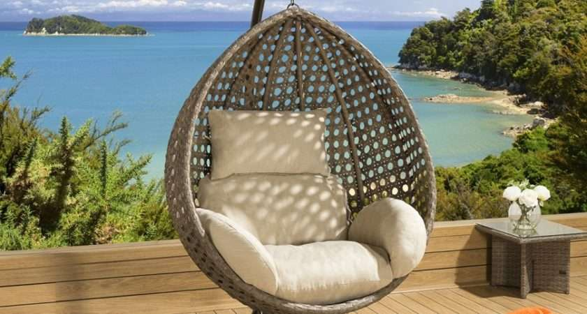 Luxury Outdoor Garden Hanging Chair Mocha Rattan Beige