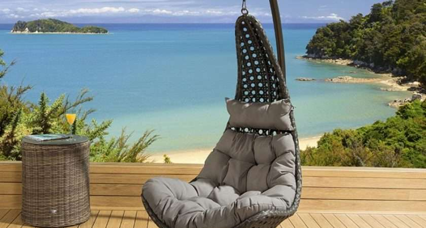 Luxury Outdoor Modern Garden Hanging Chair Black Rattan