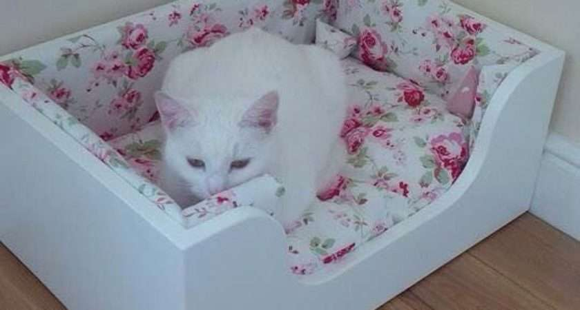 Luxury Wood Pet Bed Cat Handmade Cath Kidston