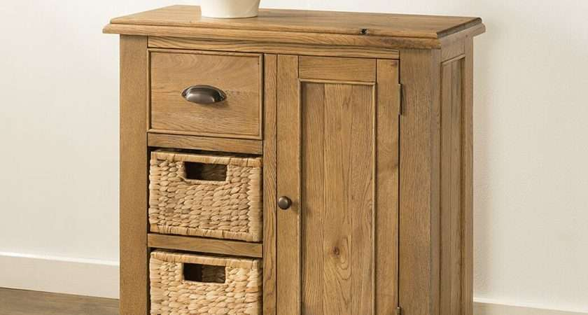 Lyon Oak Compact Sideboard Baskets