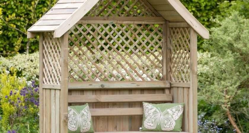 Madrid Garden Arbour Seat Pergola Trellis Wood Arch Bench