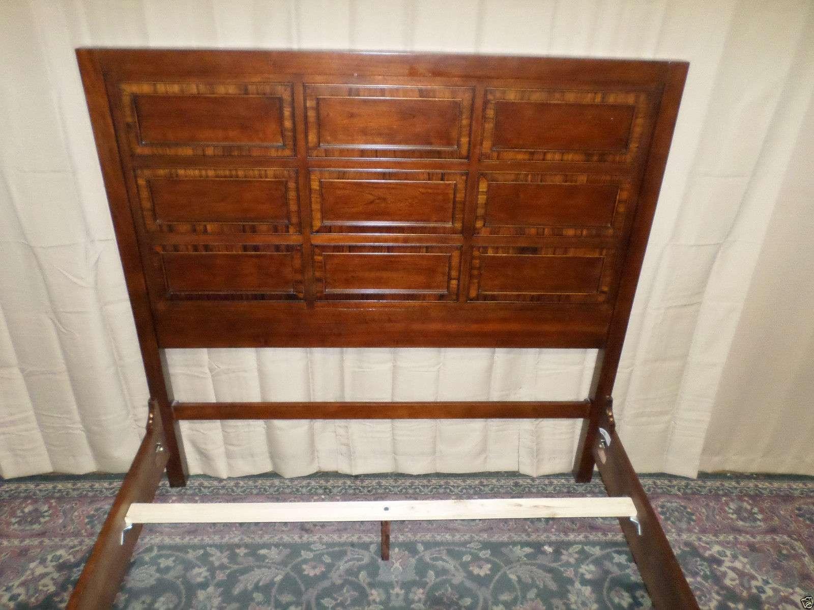 Mahogany Paneled Queen Bed Headboard Footboard Side Rails Slats