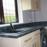 Main Kitchen New Worktop End Cut Edged Upstand Fitted