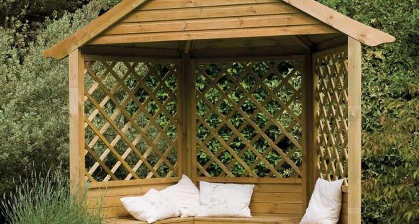 Majestic Corner Wooden Lattice Garden Arbour Bench