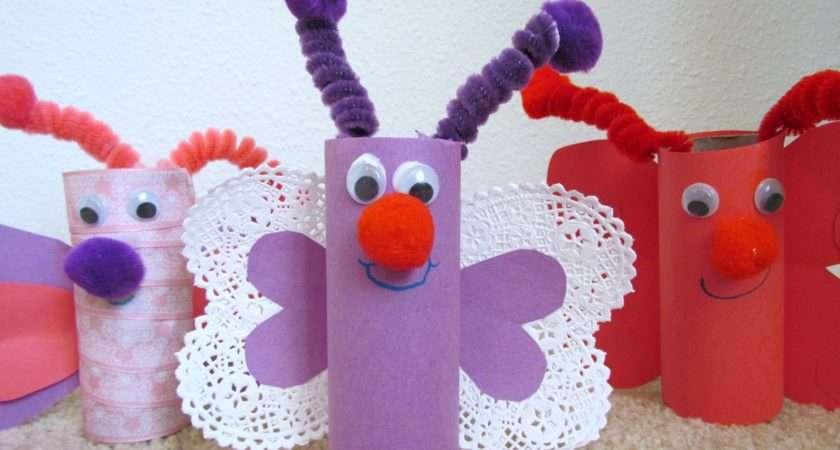 Make Butterfly Toilet Paper Tube Rolls Valentine Craft Idea