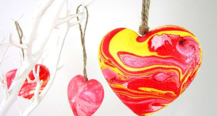 Make Marbled Heart Decorations Marbling Valentines