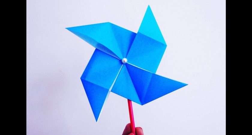 Make Paper Windmill Spins Diy Origami