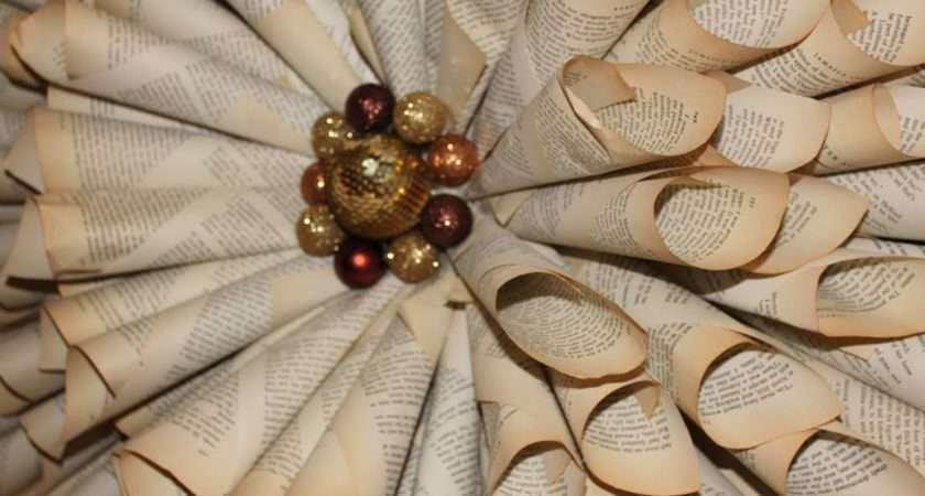 Make Your Own Christmas Wreath Vintage Book Paper