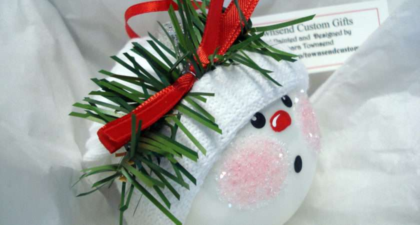 Make Your Own Ornament Christmas Tree Bulb Hand Painted Glass Snowball