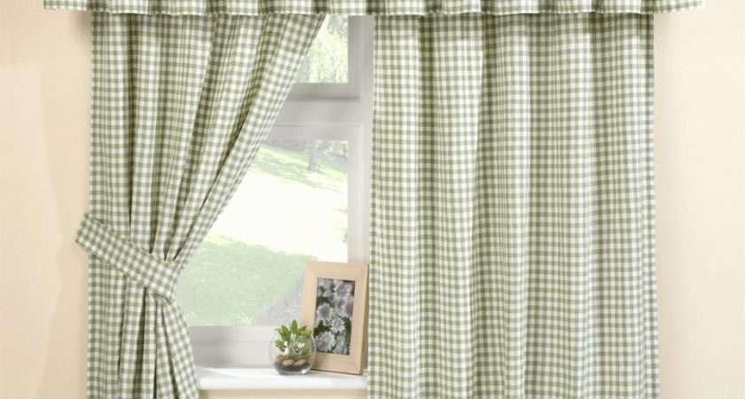 Malvern Green Gingham Kitchen Curtain Set