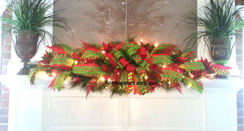 Mantel Garland Swag Christmas Fireplace Mantle Azeleapetals