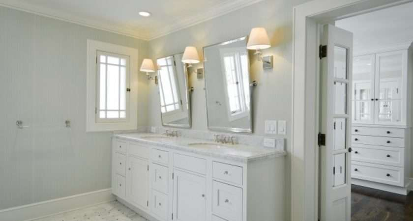 Marble Basketweave Tiles Floor Gray Walls White Double Bathroom