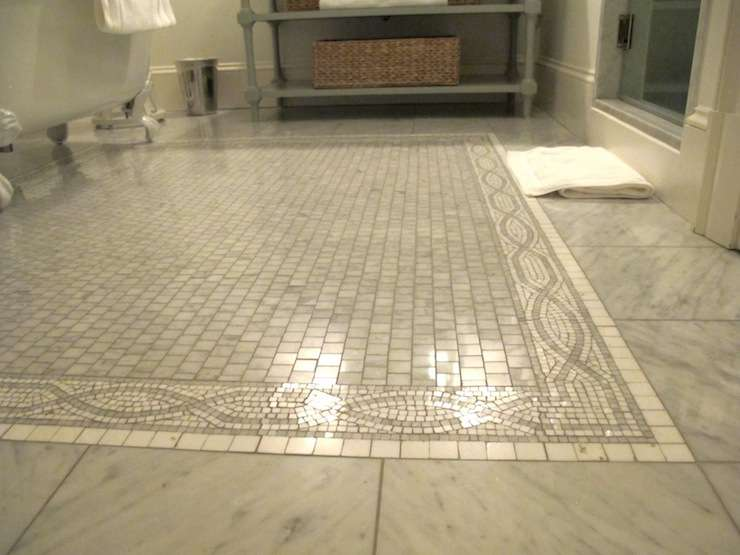 Marble Tiled Floor Mosaic Inset Tiles Claw Foot Tub