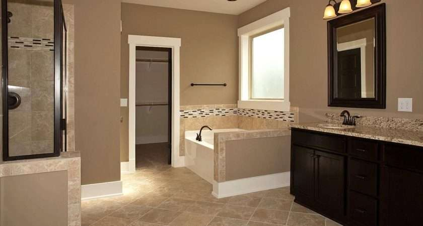 Master Bathroom Add Tile Flooring Frame Mirror Stain