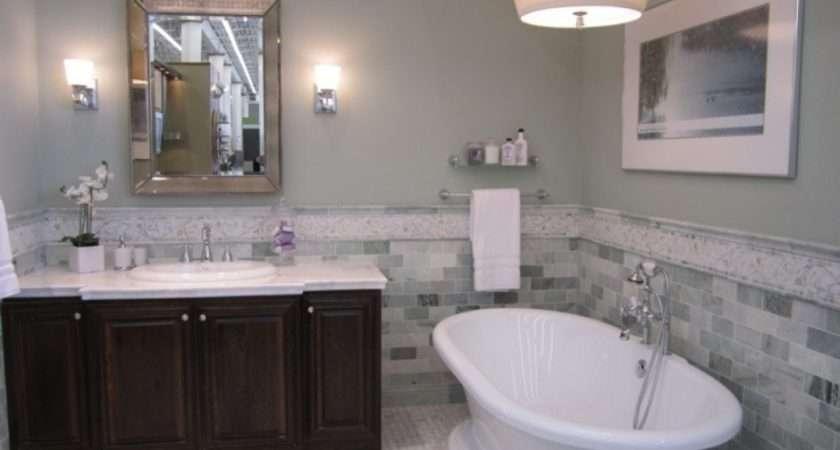 Master Bathroom Wall Painting Mosaic Stone Subway Tiles