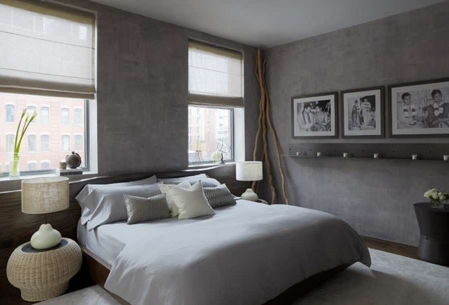 Master Bedroom Design Dark Gray Painted Walls Fit Bedding