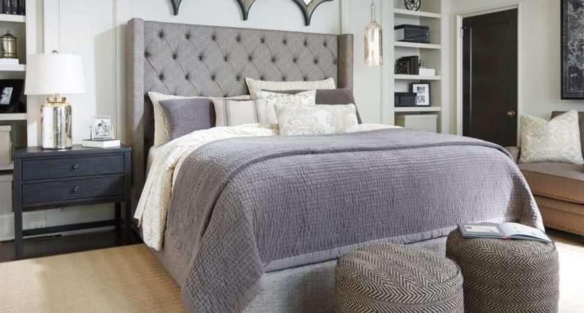 Medium Ashley Traditional Bedroom Furniture Limestone Pillows Lamp