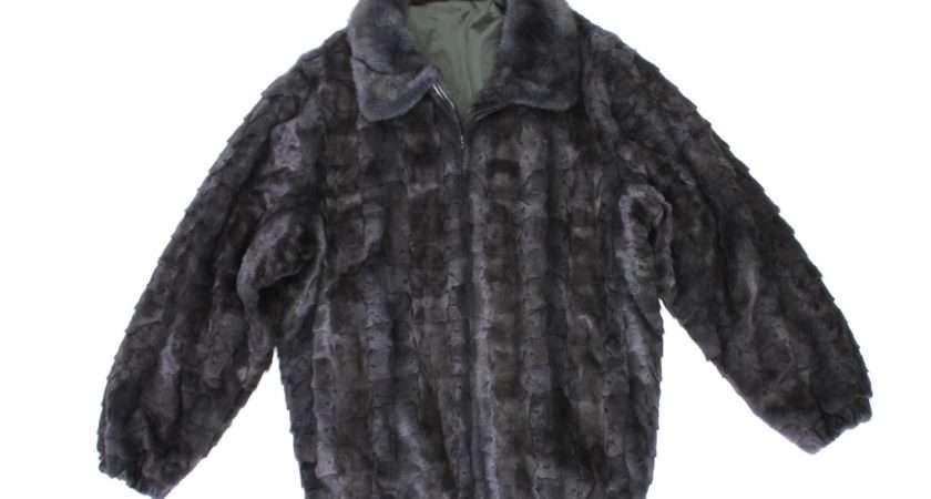 Mens Blue Iris Dyed Mink Fur Sections Bomber Jacket Coat Stroller