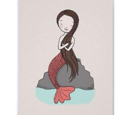 Mermaid Poster Cute Nursery Art Girls Room Zazzle