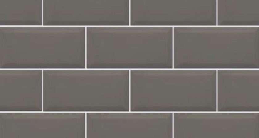 Metro Dark Grey Bevelled Brick Kitchen Wall Tile
