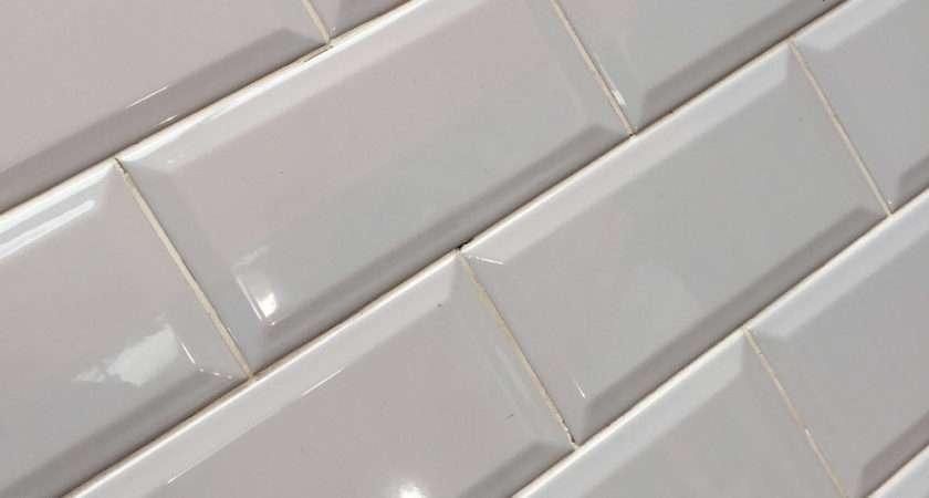 Metro Light Grey Bevelled Brick Kitchen Wall Tile