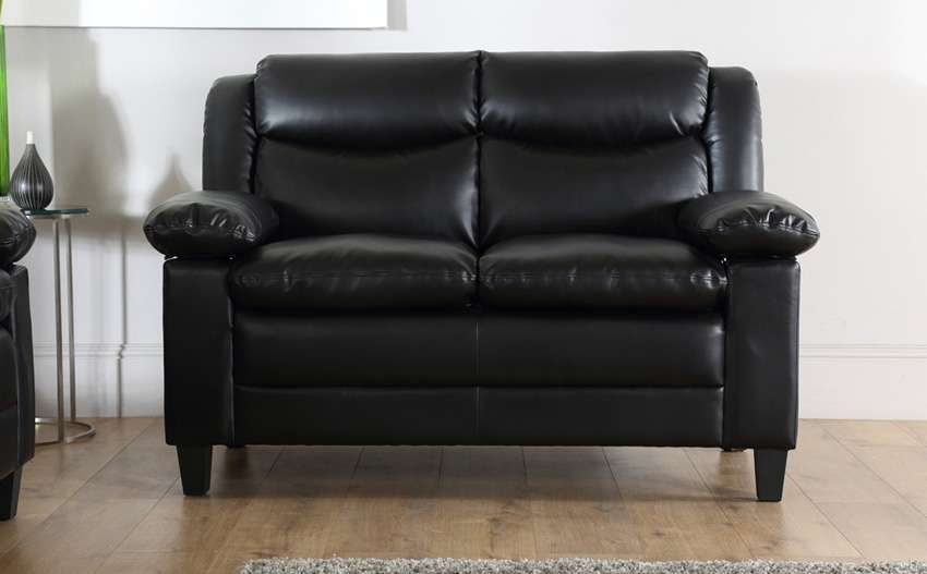 Metro Small Black Leather Seater Sofa Only Furniture