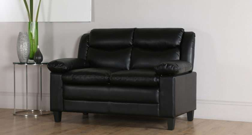 Metro Small Black Leather Seater Sofa