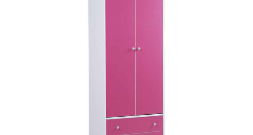 Miami Pink White Childrens Girls Door Double Wardrobe