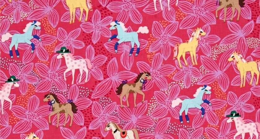 Michael Miller Novelties Pretty Ponies Pink Discount