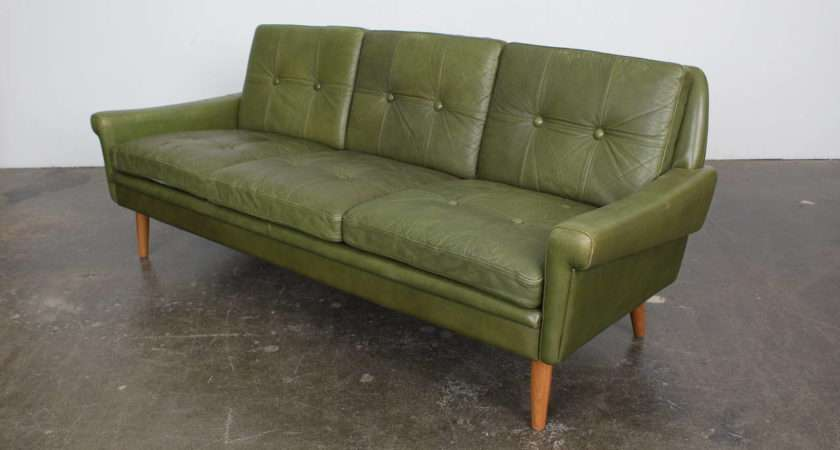 Mid Century Modern Green Leather Sofa Skippers Mobler