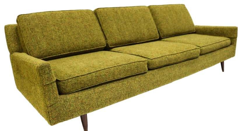 Mid Century Modern Green Upholstered Sofa