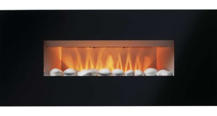 Midnight Black Glass Frame Wall Hung Electric Fire Customer
