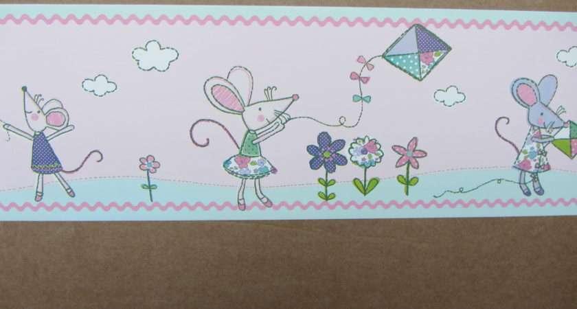 Millie Mouse Pink Border Self Adhesive Bedroom Nursery Walls