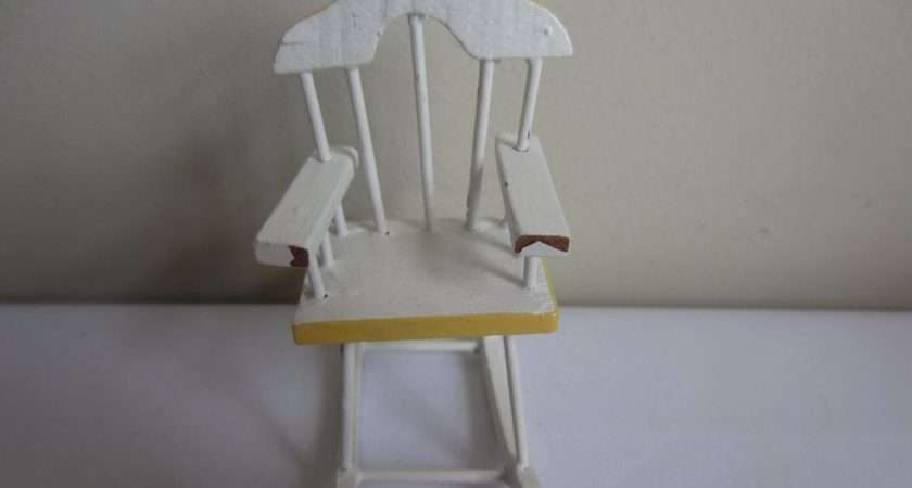 Miniature Painted White Yellow Wood Nursery Rocking Chair Ebay