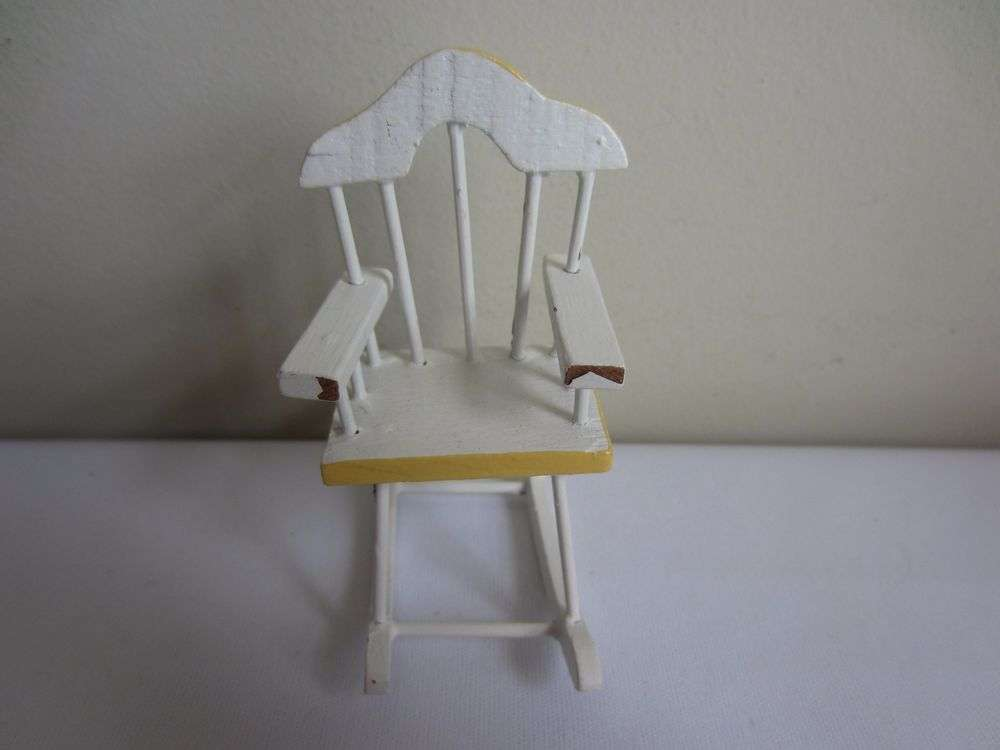 Miniature Painted White Yellow Wood Nursery Rocking Chair Ebay