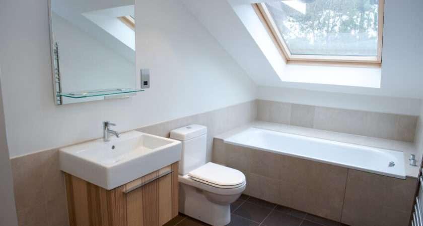 Minimalist Attic Bathroom Natural Wood Vanity Tile