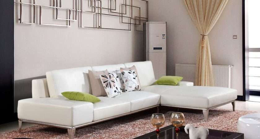 Minimalist Living Room Decoration White Leather