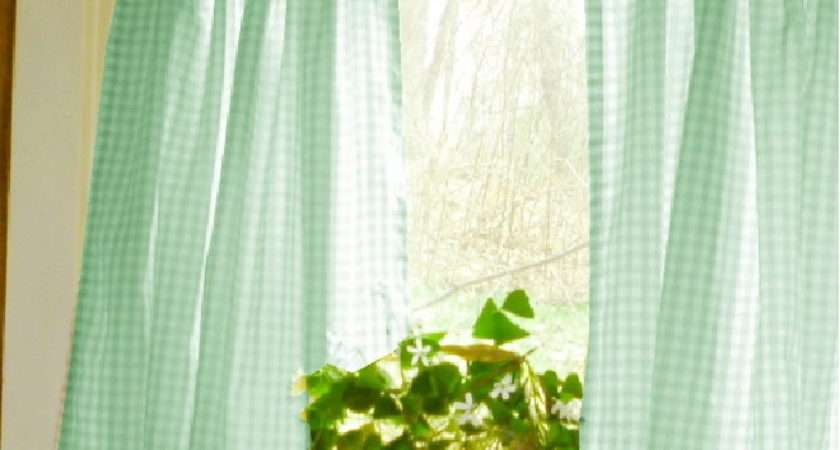 Mint Green Gingham Kitchen Caf Curtain Unlined