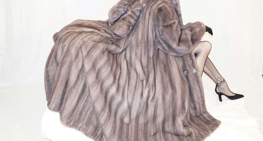Mint Hudson Bay Blue Iris Gray Mink Fur Coat Jacket Sweep Ebay