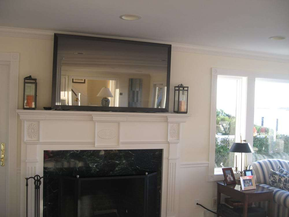 Mirror Mounted Over Fireplace Articulating Arm