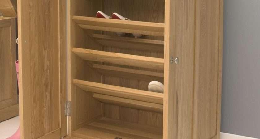 Mobel Solid Oak Hallway Furniture Shoe Storage Cabinet