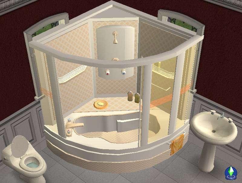 Mod Sims Corner Bath Shower Unit Now Fully Working