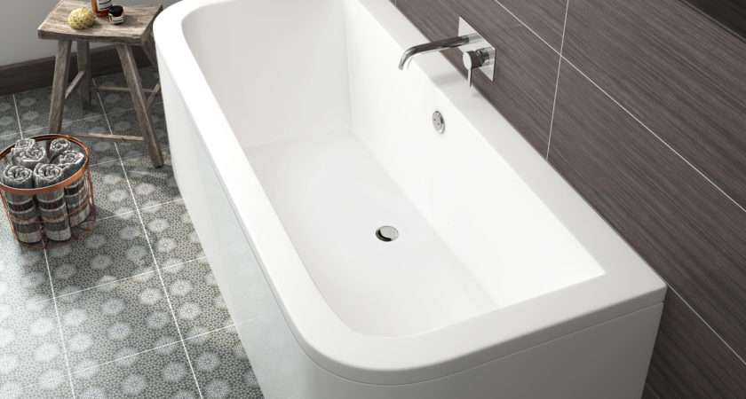 Modern Bathroom Bath Double Ended Shape Back Wall