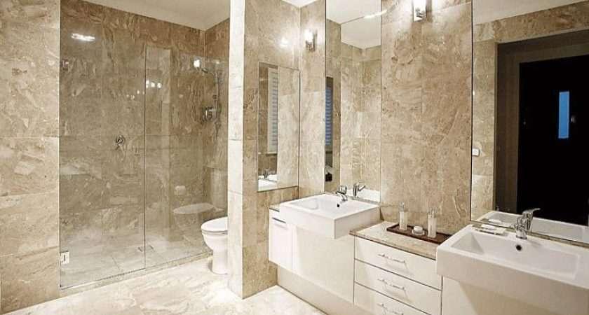Modern Bathroom Design Twin Basins Using Frameless