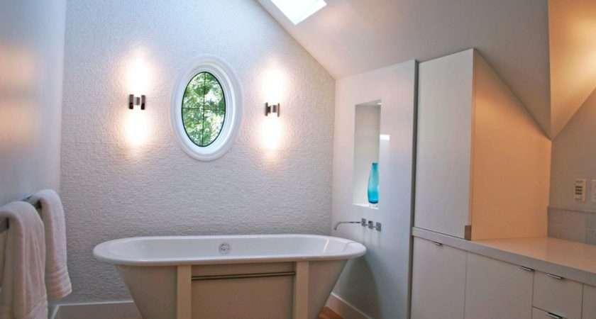 Modern Bathroom Freestanding Tub Sloped Ceiling Near