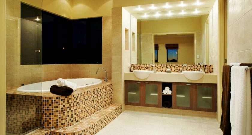 Modern Bathroom Interior Bathtub Washbasin Mirror Lamp Vanity Lockers